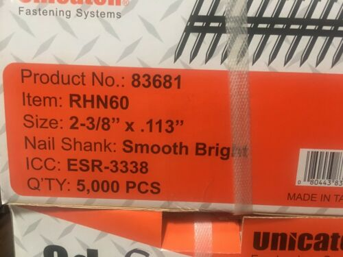 "2-3/8"" x .113 BRIGHT Smooth 21` Framing Nails 5000/Case Hitachi,DeWalt,Senco"