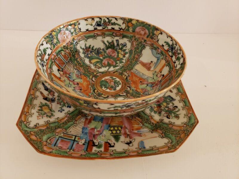 Antique Japanese Hand Painted Decorative Porcelain Matching Plate & Bowl Set