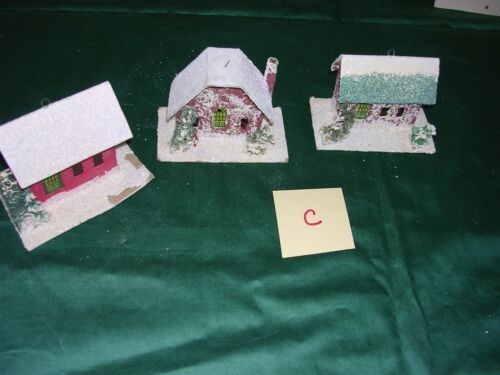 #C Lot of 3 Vintage Christmas Tree Putz Mica Cardboard Village Houses  ~Japan