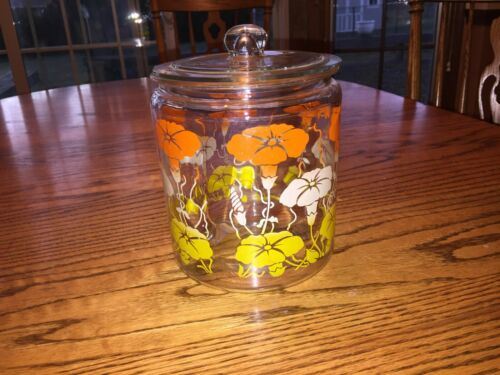 Vintage Hazel Atlas Morning Glory Cookie Glass Jar and Lid