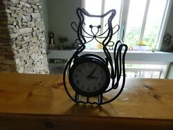 Adorable Black Metal Cat Desk or Wall Clock