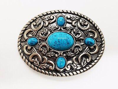 Пряжки Oval pattern & blue stone