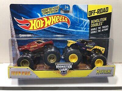 New Hot Wheels Monster Jam 2014 Demolition Doubles Iron Man Vs Wolverine VHTF