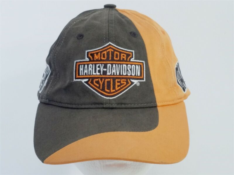 Harley-Davidson Motorcycles Brown Orange Ball Cap Hat Adjustable