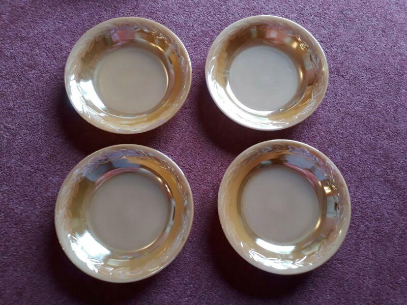 4 x Soup/ Cereal Bowls-Fire King Ware -USA- peach lustre leaf decor 19 cm Diam