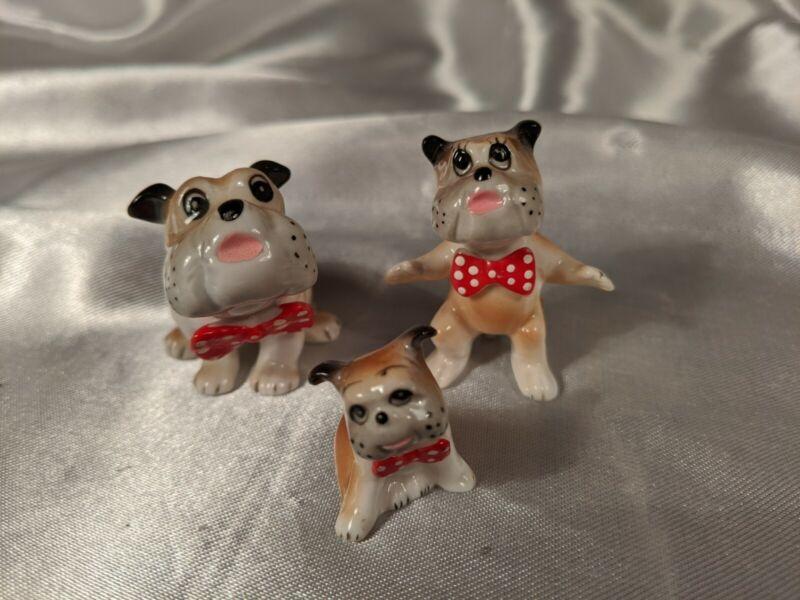Bulldog Boxer Dogs Mini Figurines Set of Three Bone China Japan Vtg Red Bowties