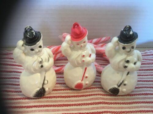 Vintage 1940's Christmas Celluloid Snowmen Ornaments (3)
