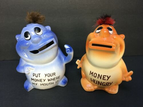 Pair of Vintage Ceramic Psycho Piggy Banks
