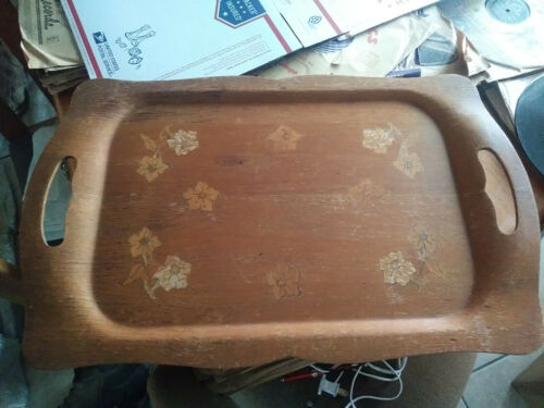 """Vintage Haskelite Wooden Serving Tray with Handles Floral Pattern 21"""" x 13"""""""