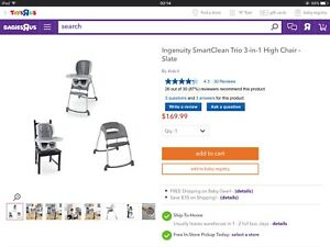 Brand new Ingenuity SmartClean Trio 3-in-1 High Chair - Slate