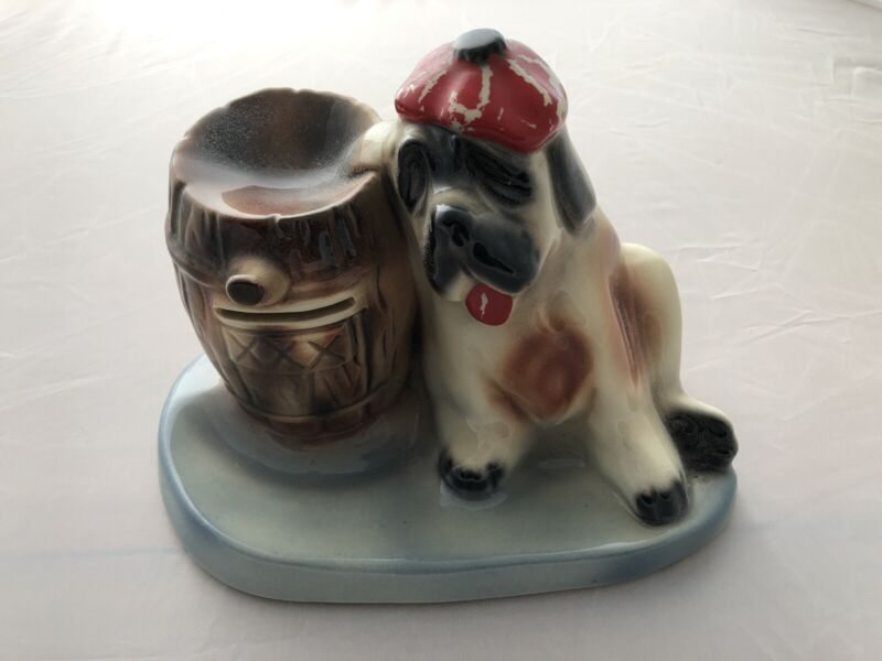 Vintage St. Bernard Ceramic Coin Bank, What a character! Take a LOOK!!!