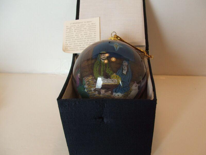 """Li Bien 1998 NATIVITY BALL ORNAMENT~4"""" Diameter with Padded Ornament Box"""