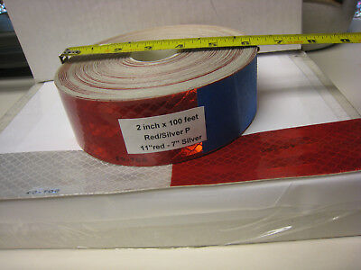 3m Brand 2 X100 Roll Silver Red Prismatic Reflective Tape 7-11 Dot-c2