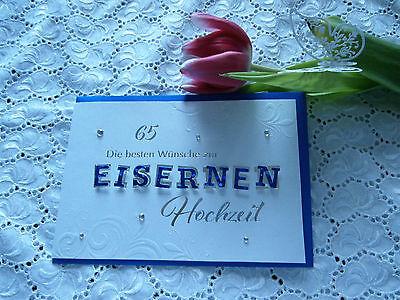 Elegante Glückwunschkarte Eiserne Hochzeit 65 Kobaltblau Weiß Prägedruck 3D