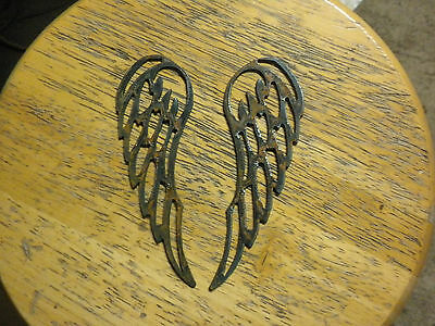 Lot Of 2 Angel Wings 6 Rough Rusty Metal Vintage Stencil Ornament Magnet Craft