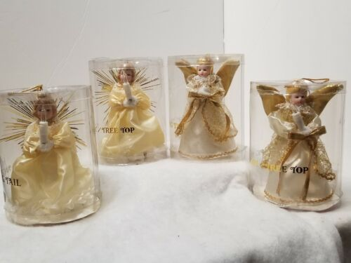"""LOT OF 4 VINTAGE LIGHT ANGEL PIG TAIL CHRISTMAS TREE ORNAMENTS 5.5"""" W/ CONTAINER"""
