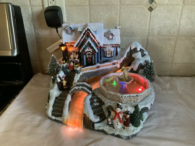 AVON Fiber Optic Christmas Village w/ Water Fountain Lights Up Musical Carolers