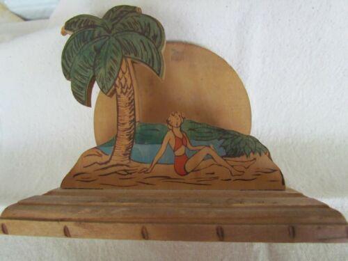 Vintage Souvenir Wood Napkin Holder with Beach Scene from Augusta GA