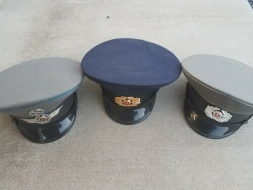 East German Air Force, Army, Navy Caps Hats. Lot of 3.