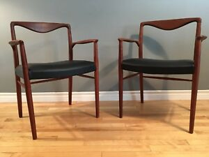Stunning mid-century modern Teak and Leather Arm chairs