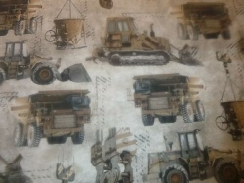 """Construction Vehicles and Equipment  Cotton Fabric   (44"""" Wide x 54"""" long)"""