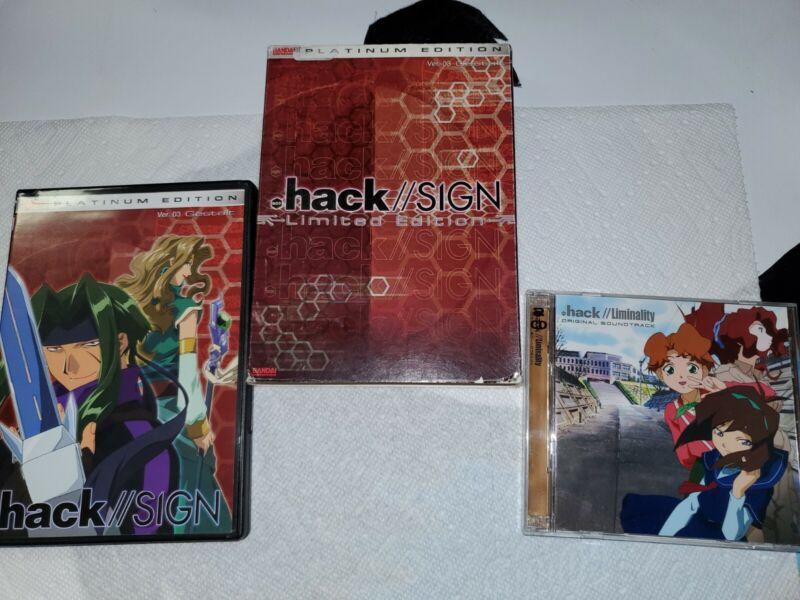 Dot HACK  SIGN platinum Edition (Limited) Ver. 03 Gestalt Dvd And Soundtrack