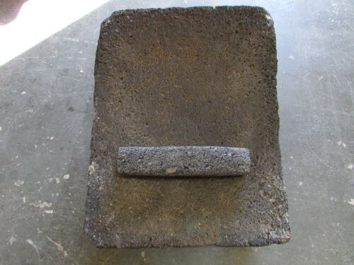 Antique Metate #56-Grinder-Rustic-Complete-Old Mexican-Primitive15x18.5x10.5