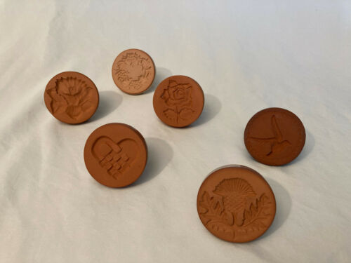 """RYCRAFT 2"""" COOKIE PRESS STAMPS ( 6) Thistle, Rose, Heart, Grapes, Dove, Daffodil"""