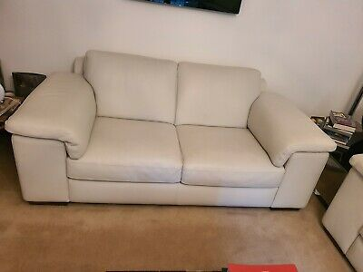 Natuzzi  White Leather Sofa Suite