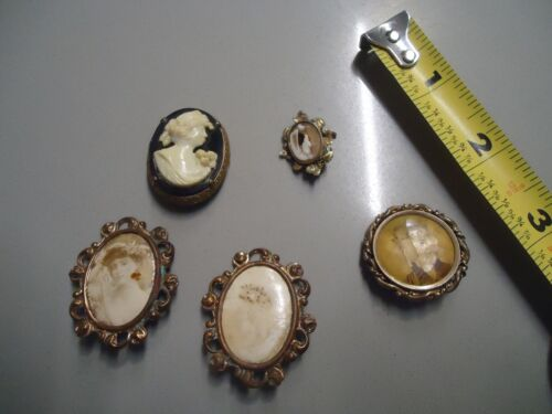 lot of 5 Antique Victorian Photograph Portrait Pin or Brooch carved Cameo old cl