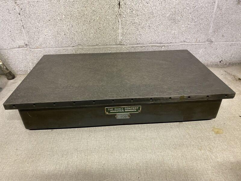 "Vintage DoAll Co. Cast Iron  Surface Inspection Plate  24""x14"" Nice Shape 130lb"