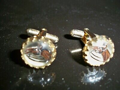 VINTAGE  HORSE HEAD HAND PAINTED CUFFLINKS  UNDER DOMED GLASS