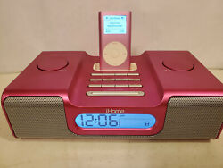iHome Clock Radio AM FM iPod Speaker Docking Station Ih8 power cord HOT PINK !