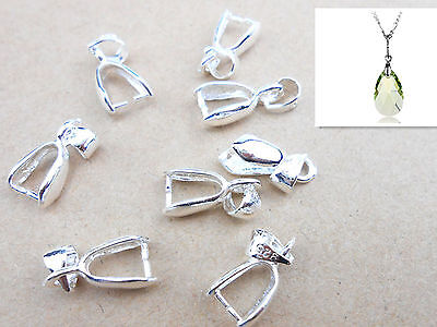 10x Sterling Silver Finding Bail Connector Bale Pinch Jewelry Clasp Pendant Pop