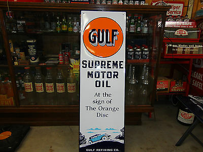 GULF SUPREME OIL EMBOSSED SIGN WITH OLD GRAPHICS GULF REFINING CO 12 X 42
