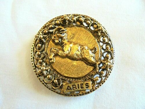 Vintage Aries the Ram Horoscope / Zodiac Sign Brooch / Scarf Clip Signed Art