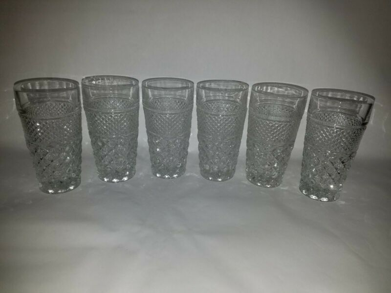 "6 VTG ANCHOR HOCKING WEXFORD 6 1/4"" ICE TEA TUMBLERS MINT COND !!!!!"