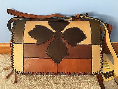 NWT PATRICIA NASH LEATHER ZIG ZAG PATCHWORK BARI SQUARE FLAP CROSSBODY BAG (Bari Leather)