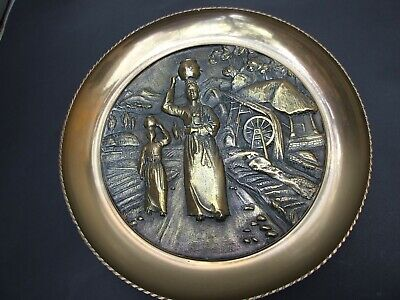 ANTIQUE ASIAN SOLID BRASS  WALL DECOR PLATE ''COUNTRY LIFE SCENES ''VINTAGE