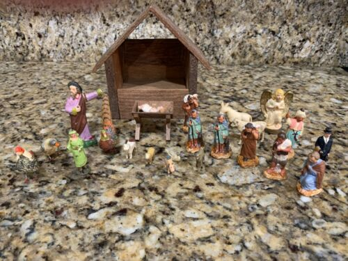 Antique  Vintage Nativity Scene Christmas Crib  RARE!