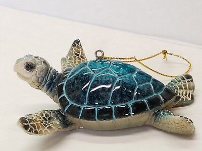 Cozumel Reef Blue Sea Turtle Christmas Ornament Nautical Beach Coastal