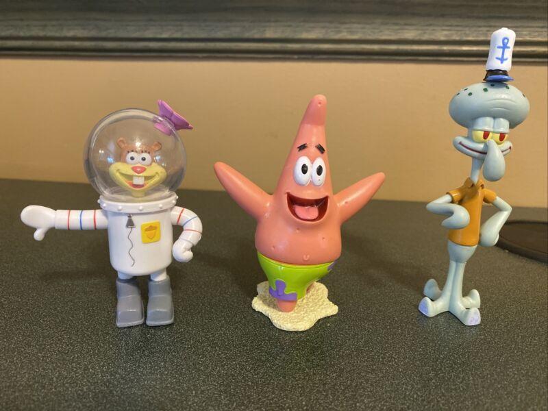 Spongebob Squarepants Jakks Squidward & Sandy & Patrick Figures Rare Lot