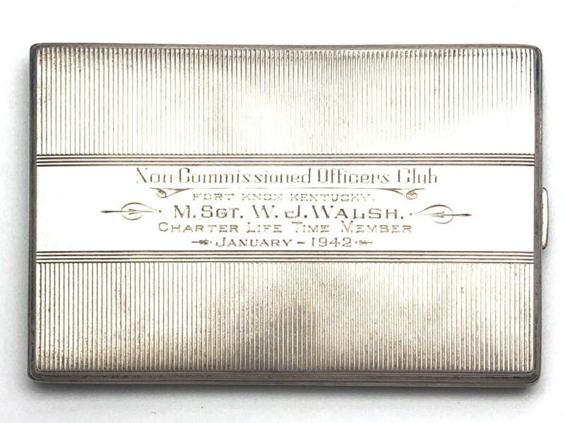WWII Era Officers Club Sterling Silver Cigarette Case- R. Blackinton & Co.