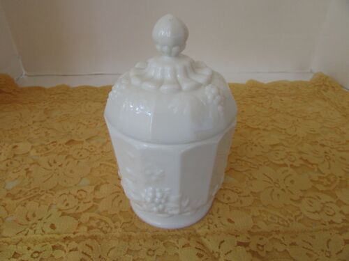 "WESTMORELAND WHITE MILK GLASS COVERED COMPOTE PANELLED GRAPES & LEAVES 6.5""H"