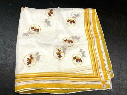 "Vtg 21"" Square Silk Scottie Dog Scarf Made Japan Hand Rolled Silk Blend"