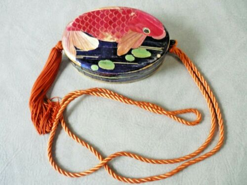 CHINESE WOOD & BAMBOO STRAW MARQUETRY KOI FISH OVAL TRINKET ~ JEWELRY SEWING BOX