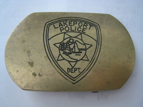 LAKEPORT POLICE DEPARTMENT Brass Belt Buckle CALIFORNIA Clear Lake County