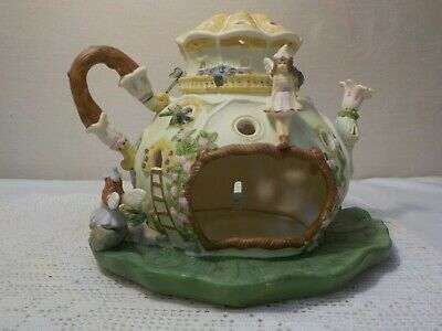 Party Lite Fairy Land Tea Pot Teal Lite Candle Holder Land Pot Holder