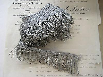 "1 yd Antique Vintage UNUSED French 2"" Silver Metallic Thread Fringe"