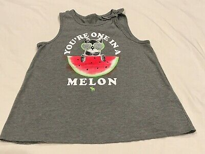 ABERCROMBIE KIDS GIRLS GRAY KITTY WATERMELON TANK TOP SIZE 9/10